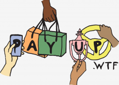 """logo that says """"Pay Up dot wtf"""""""